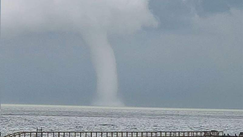 A waterspout is seen spinning over Galveston Bay in Texas on May 28, 2020.