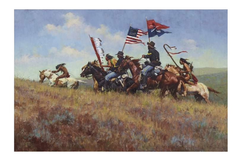 """This undated photo provided by Christie's Images Limited 2020 shows the painting """"Flags on the Frontier"""" which is one of the works of art depicting the American West and other items collected by the late Texas oil tycoon T. Boone Pickens. They are expected to sell for more than $15 million at an auction. Christie's announced Thursday, Sept. 10, 2020, that the auction will be held Oct. 28 in New York. (Christie's Images Limited 2020 via AP)"""