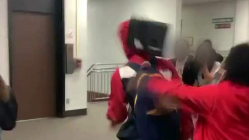 Video: Student attacks boy with laptop at school