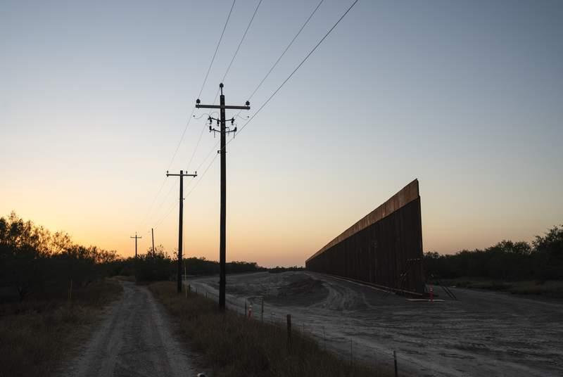 Construction of the border wall close to Mendozas ranch La Grulla  on Dec. 17, 2020.