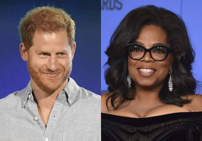 """Prince Harry, Duke of Sussex speaks at """"Vax Live: The Concert to Reunite the World"""" in Inglewood, Calif. on May 2, 2021, left, and Oprah Winfrey appears at the 75th annual Golden Globe Awards in Beverly Hills, Calif. on Jan. 7, 2018. Winfrey and Prince Harry's series """"The Me You Can't See"""" will debut on May 21 on Apple TV+ plus. (AP Photo)"""