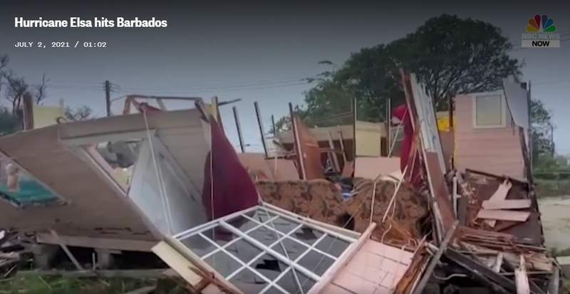 Elsa's winds leveled homes in Barbados last Friday