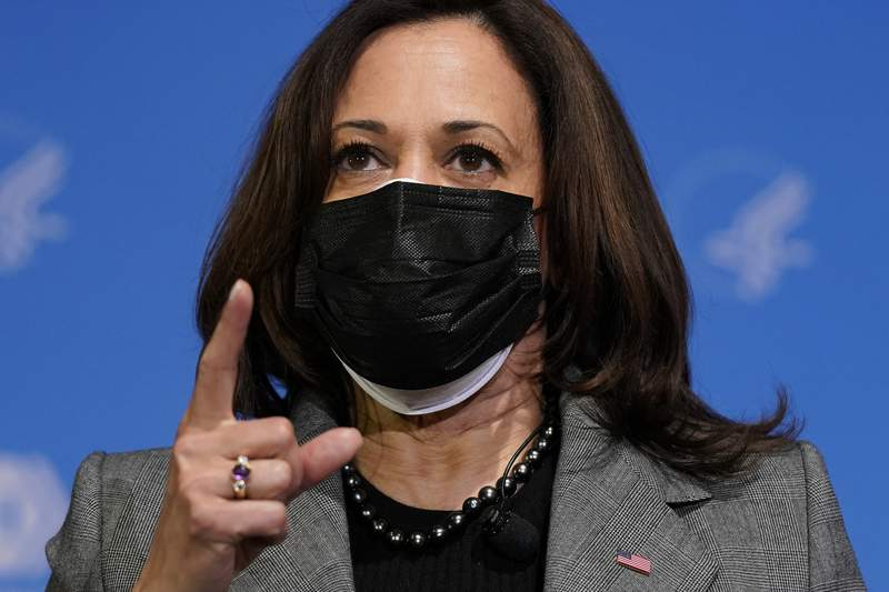 Vice President Kamala Harris speaks after receiving her second dose of the COVID-19 vaccine at the National Institutes of Health, Tuesday, Jan. 26, 2021, in Bethesda, Md. (AP Photo/Patrick Semansky)