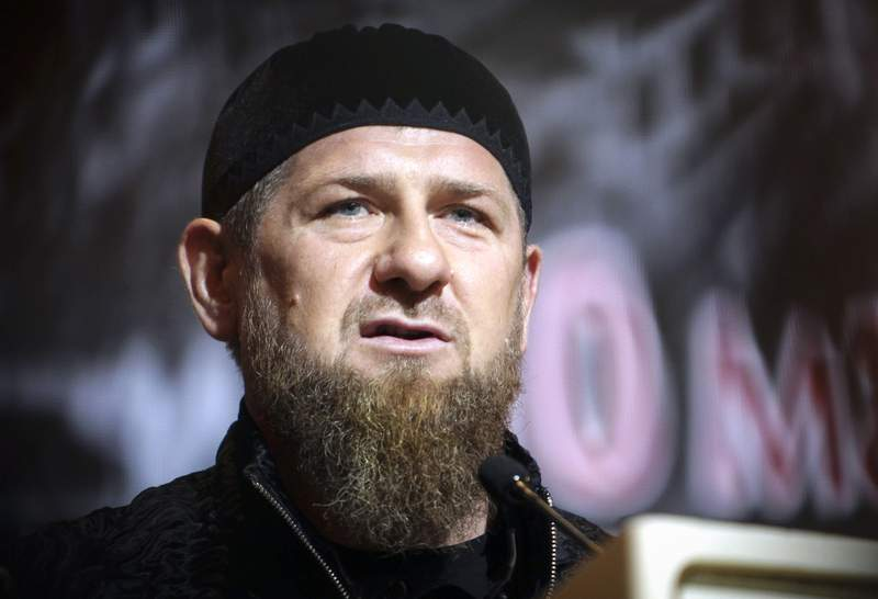 FILE - In this Friday, May 10, 2019 file photo, Chechnya's regional leader Ramzan Kadyrov speaks during a meeting in Grozny, Russia. Kadyrov said Wednesday, Jan. 20, 2021 that his forces have killed six suspected militants, including a warlord accused of organizing a 2011 suicide attack at a Moscow airport. He claimed that the raid marked the elimination of the last group of militants that remained in the region. (AP Photo/Musa Sadulayev, file)