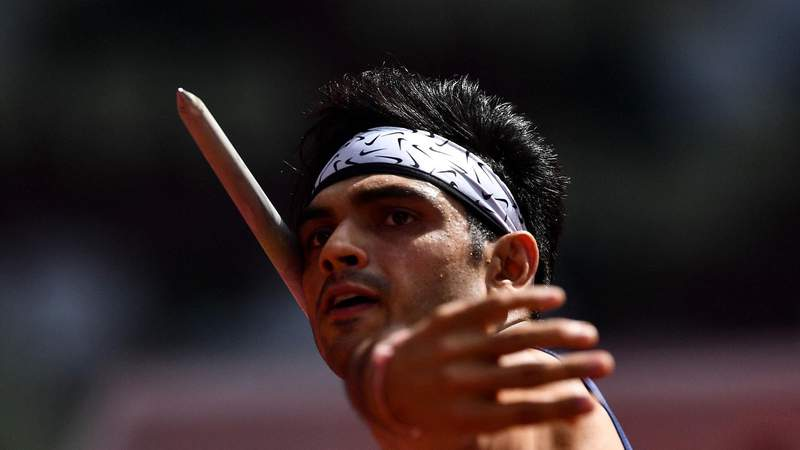 India's Neeraj Chopra competes in the men's javelin throw qualification during the Tokyo 2020 Olympic Games at the Olympic Stadium in Tokyo on August 4, 2021. (Photo by Ben STANSALL / AFP) (Photo by BEN STANSALL/AFP via Getty Images)