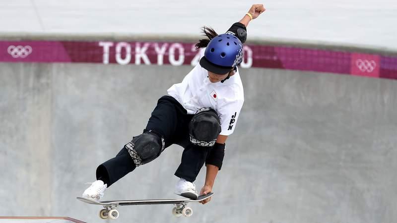 Sakura Yosozumi, 19, won the first-ever women's park skateboarding gold medal at the Olympics.
