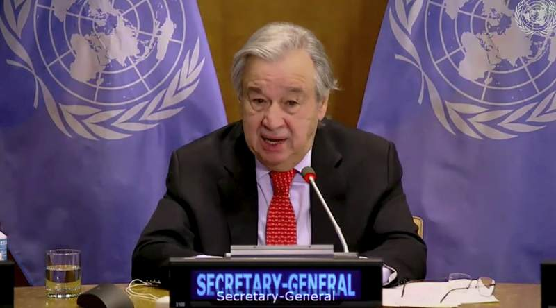 In this image made from UNTV video, United Nations Secretary General Antonio Guterres speaks during a U.N. Security Council high-level meeting on COVID-19 recovery focusing on vaccinations, chaired by British Foreign Secretary Dominc Raab, Wednesday, Feb. 17, 2021, at UN headquarters, in New York. (UNTV via AP)