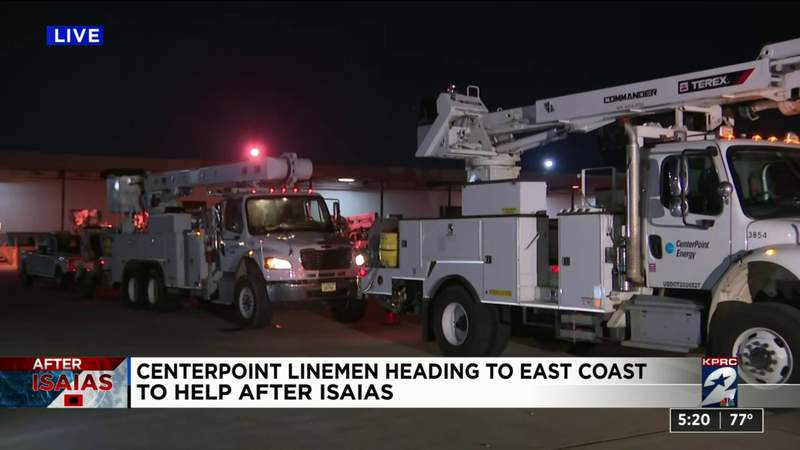 Centerpoint linemen heading to East Coast to help after Isaias