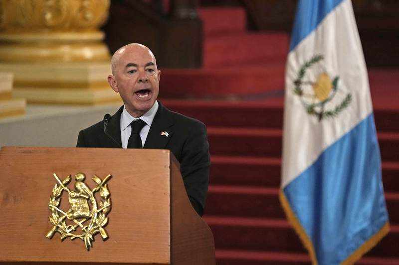 U.S. Secretary of Homeland Security Alejandro Mayorkas speaks during a press conference with Guatemala's Foreign Minister Pedro Brolo in Guatemala City, Tuesday, July 6, 2021. Mayorkas is in Guatemala for a two-day visit. (AP Photo/Moises Castillo)