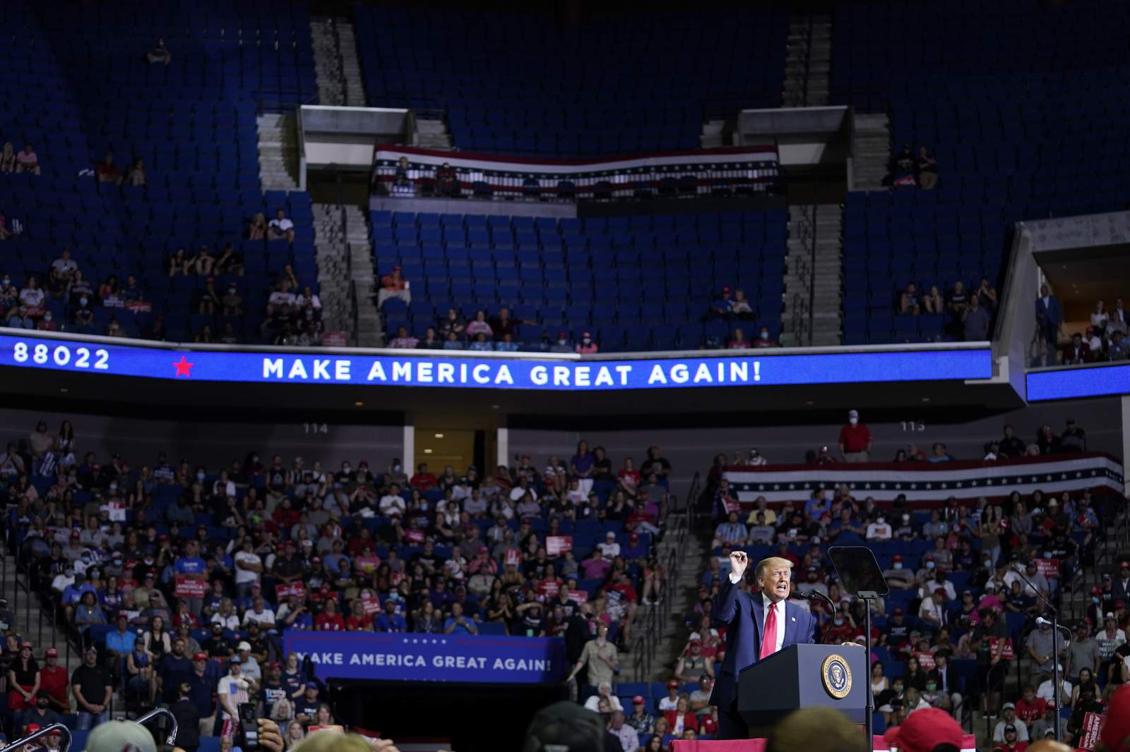 Trump comeback rally in Tulsa features empty seats, staff infections