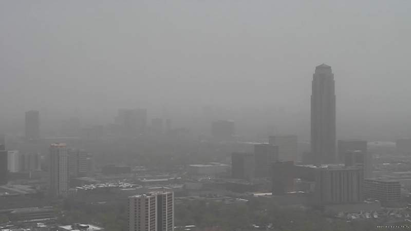 Haze blankets the Houston skyline on March 23, 2021, as dust from a West Texas storm moves through the region.
