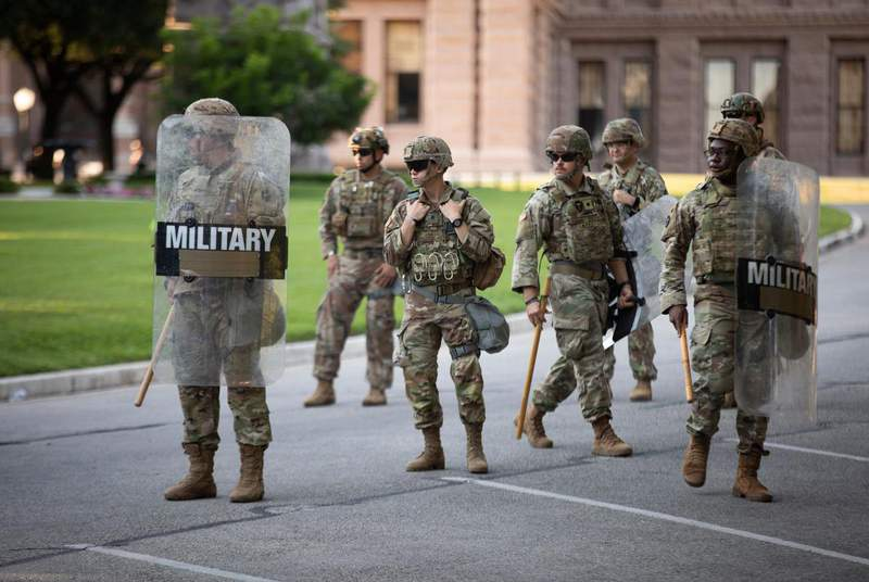 Texas National Guard troops at the Texas state Capitol during a protest over the death of George Floyd on June 19, 2020. (Credit: Miguel Gutierrez Jr./The Texas Tribune)