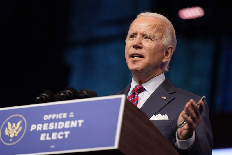 In this Dec. 4, 2020, photo, President-elect Joe Biden speaks about jobs at The Queen theater in Wilmington, Del. Other than Wisconsin, every state appears to have met a deadline in federal law that essentially means Congress has to accept the electoral votes that will be cast next week and sent to the Capitol for counting on Jan. 6. Those votes will elect Joe Biden as the country's next president. It's called a safe harbor provision because its a kind of insurance policy by which a state can lock in its electoral votes by finishing up certification of the results and any state court legal challenges by a congressionally imposed deadline, which this year is Tuesday, Dec. 8. (AP Photo/Andrew Harnik)
