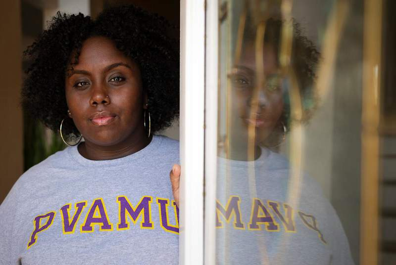 Prairie View A&M University graduate Jayla Allen, 22, became the lead plaintiff in a lawsuit alleging Waller County violated the constitutional rights and federal protections for Black voters when it set up its 2018 early voting schedule. (Credit: Ben Torres for The Texas Tribune)