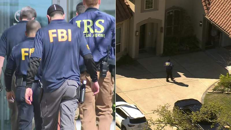 At left, agents from both the FBI and the IRS enter the administration building of HISD in Houston on Feb. 27, 2020. At right, an IRS agent walks toward the home of HISD's COO Brian Busby in Houston on Feb. 27, 2020.
