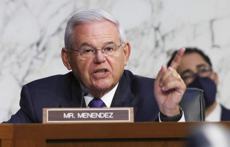 Sen. Robert Menendez, D-N.J., speaks during a Senate Banking, Housing and Urban Affairs Committee hearing on the CARES Act on Capitol Hill, Tuesday, Sept. 28, 2021 in Washington. (Kevin Dietsch/Pool via AP)