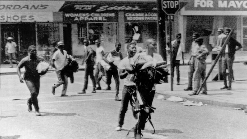 Scenes from the Watts Riots in Los Angeles in 1965.