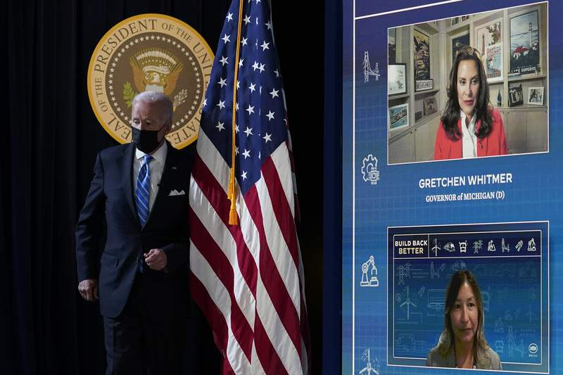 President Joe Biden arrives for a virtual meeting from the South Court Auditorium at the White House complex in Washington, Wednesday, Aug. 11, 2021, to discuss the importance of the bipartisan Infrastructure Investment and Jobs Act. (AP Photo/Susan Walsh)