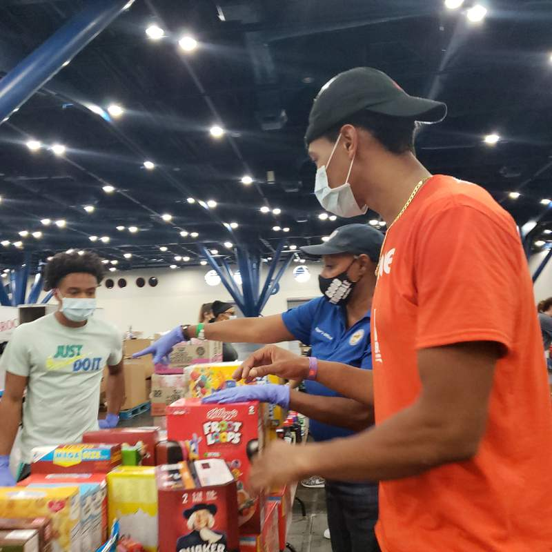 Volunteers spent Sept. 10, 2020 sorting and boxing the final round of recovery supplies donated at the George R. Brown Convention Center to ship to Lake Charles, Louisiana.