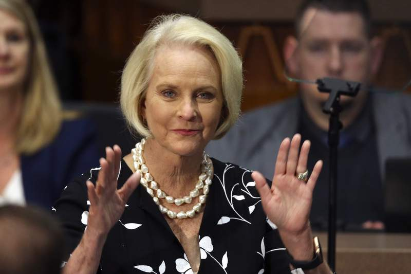 FILE - In this Jan. 13, 2020, file photo Cindy McCain, wife of former Arizona Sen. John McCain, waves to the crowd after being acknowledged by Arizona Republican Gov. Doug Ducey during his State of the State address in Phoenix. President Joe Biden is nominating Cindy McCain to be the U.S. representative to the United Nations Agencies for Food and Agriculture. (AP Photo/Ross D. Franklin, File)