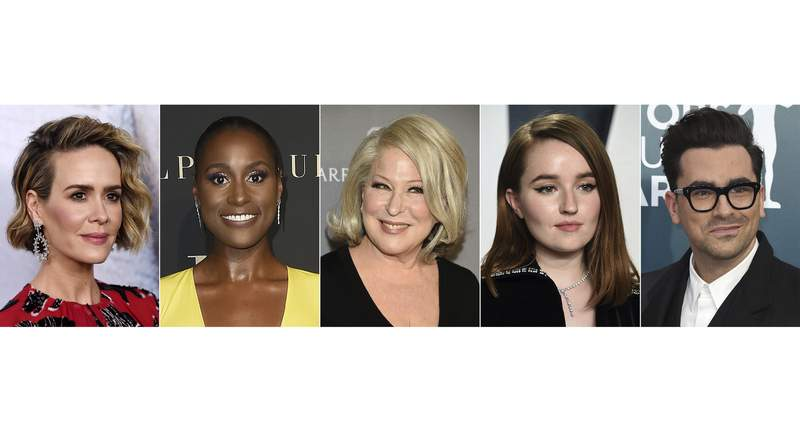 """This combination of images shows actors, from left, Sarah Paulson, Issa Rae, Bette Midler, Kaitlyn Dever and Dan Levy who will star in the HBO comedy """"Coastal Elites,"""" premiering September 12. (AP Photo)"""
