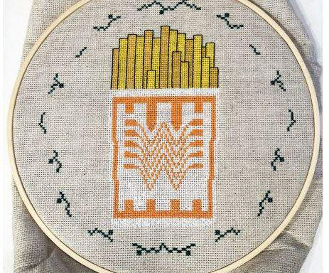 Whataburger cross-stitch embroidery