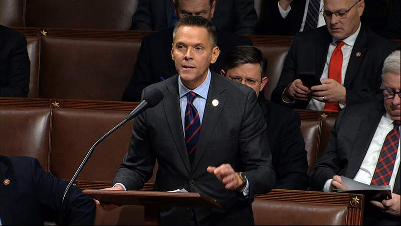 FILE- In this Dec. 18, 2019, file photo, Rep. Ross Spano, R-Fla., speaks as the House of Representatives debates the articles of impeachment against President Donald Trump at the Capitol in Washington. Spano is facing a primary challenge from Lakeland City Commissioner Scott Franklin. Spano is a first term congressman who has faced ethics investigations over alleged campaign finance violations. The district sits just east of Tampa and leans Republican. (House Television via AP)