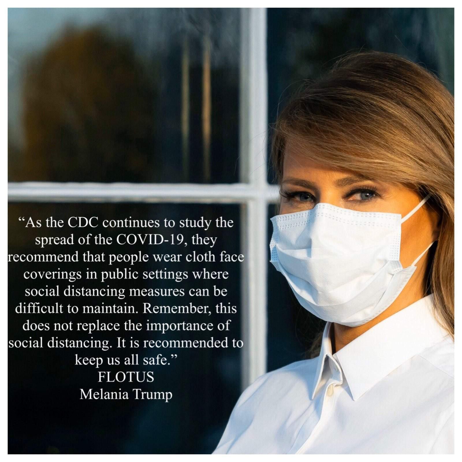Las máscaras faciales alentadoras de Melania Trump resaltan la renuencia de su esposo a usar una 109