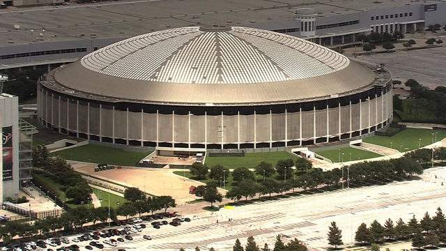 The Astrodome in Houston is seen from the air on Aug. 14, 2018.