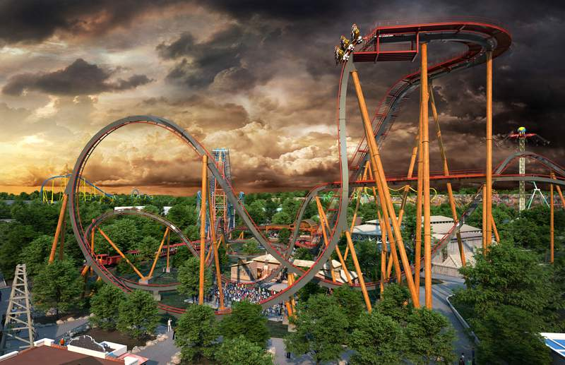 Dr. Diabolical's Cliffhanger Dive Coaster will open at Six Flags Fiesta Texas in the summer of 2022.