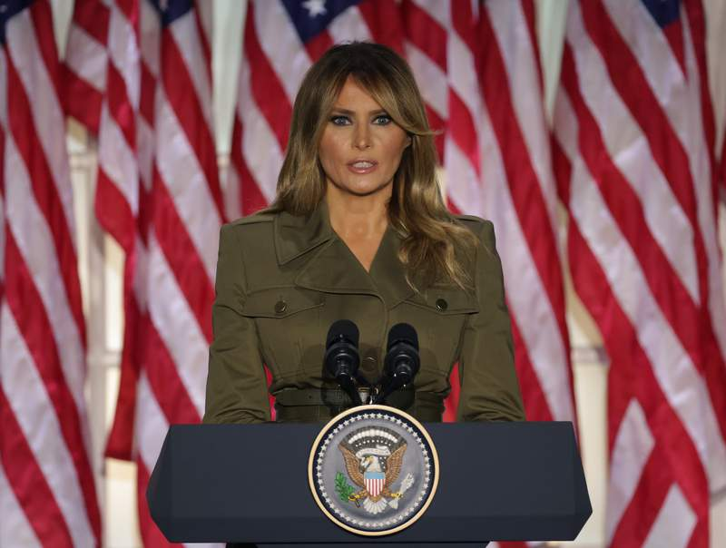WASHINGTON, DC - AUGUST 25: U.S. first lady Melania Trump addresses the Republican National Convention from the Rose Garden at the White House on August 25, 2020 in Washington, DC. The convention is being held virtually due to the coronavirus pandemic but will include speeches from various locations including Charlotte, North Carolina and Washington, DC. (Photo by Alex Wong/Getty Images)