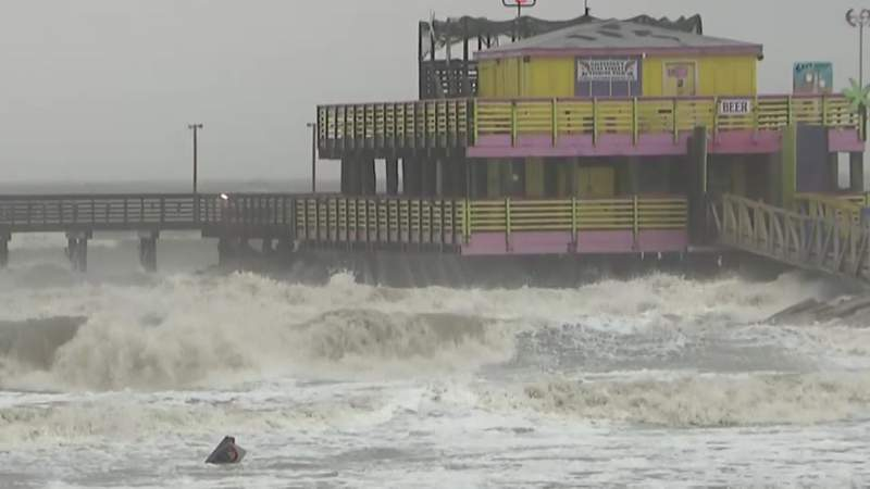 Waves slam against the 61st Street Pier in Galveston, Texas, during Tropical Storm Beta on Sept. 21, 2020.