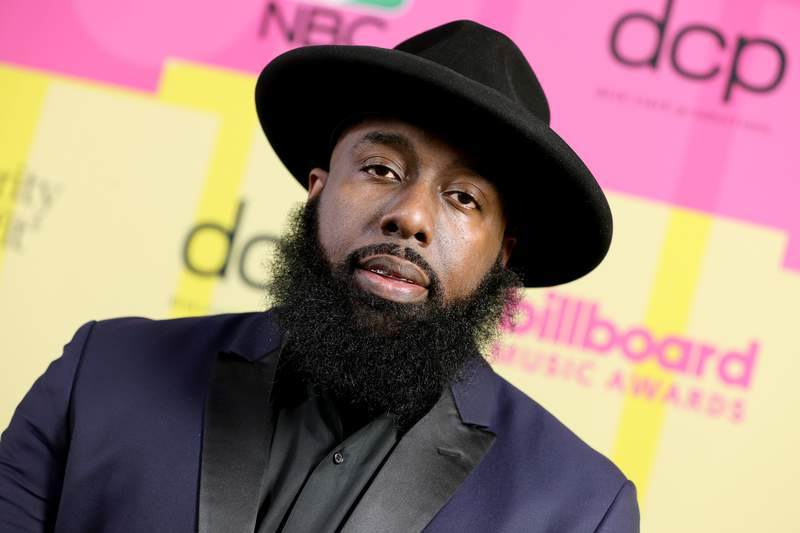 LOS ANGELES, CALIFORNIA - MAY 23: Trae tha Truth poses backstage for the 2021 Billboard Music Awards, broadcast on May 23, 2021 at Microsoft Theater in Los Angeles, California. (Photo by Rich Fury/Getty Images for dcp)