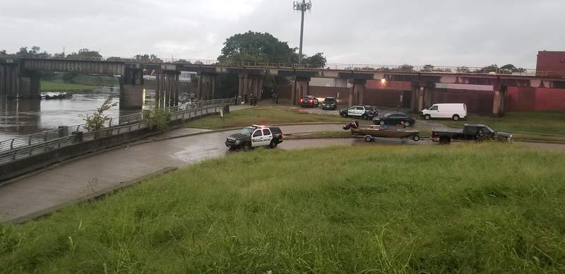 Houston police search for fisherman in Brays Bayou Sept. 22, 2020.