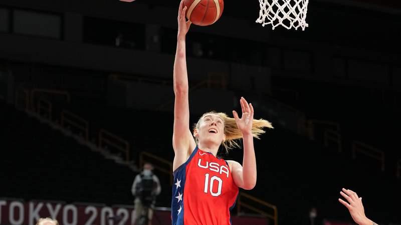 USA player Breanna Stewart (10) shoots against Australia during the Tokyo 2020 Olympic Summer Games at Saitama Super Arena