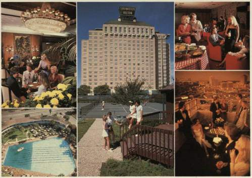 Postcard featuring photographs of the exterior and interior of the Shamrock Hilton.