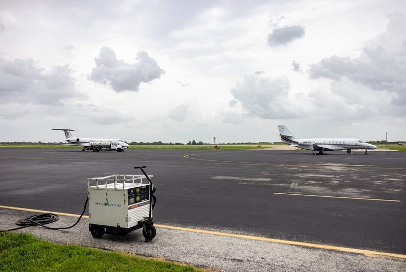 Planes stationed at Austin-Bergstrom International Airport on July 12, 2021.
