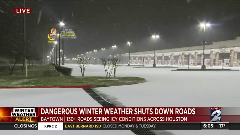 Dangerous winter conditions in Baytown, several without power