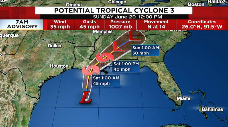Landfall will most likely be in southeast Louisiana early Saturday morning as a weak tropical storm (Claudette).