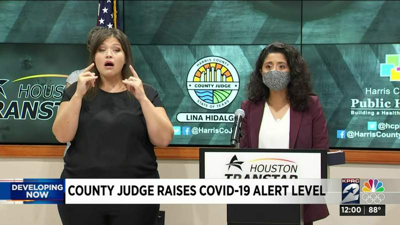 Watch live: Judge Lina Hidalgo raises Harris County threat level from yellow to orange due to rise in COVID-19 cases