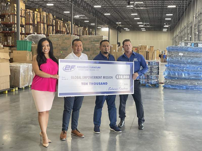 Exclusive Furniture makes Hurricane Ida relief donation to Global Empowerment Mission