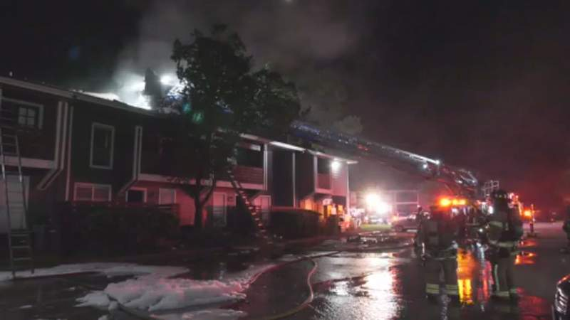 Firefighters battle apartment fire in north Harris County on Nov 1, 2020.