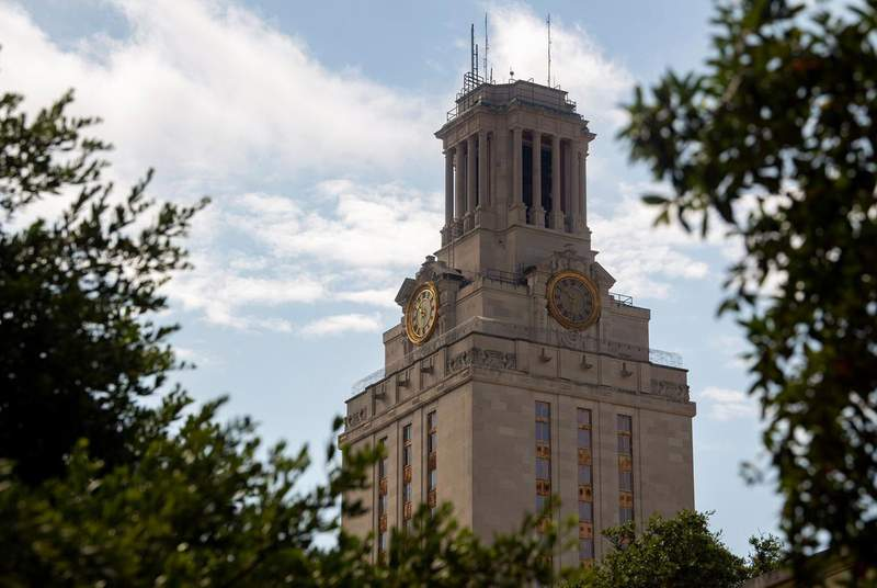 The University of Texas tower on July 16, 2020. (Credit: Allie Goulding/The Texas Tribune)