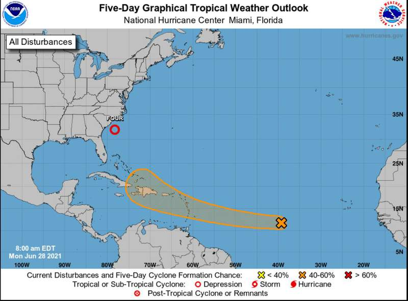 Tropical Depression 4 has formed with another possible system in the Atlantic