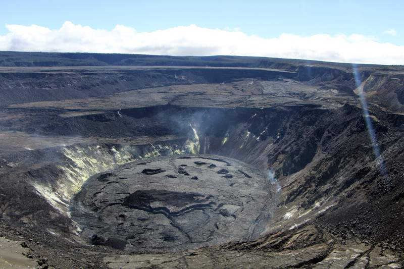 This Aug. 13, 2021 photograph provided by the U.S. Geological Survey shows the crater of Kilauea volcano on Hawaii's Big Island in Hawaii National Park, Hawaii. Geologists on Tuesday, Aug. 24 said they had detected a swarm of earthquakes at the volcano, though it is not erupting. (Drew Downs/U.S. Geological Survey via AP)