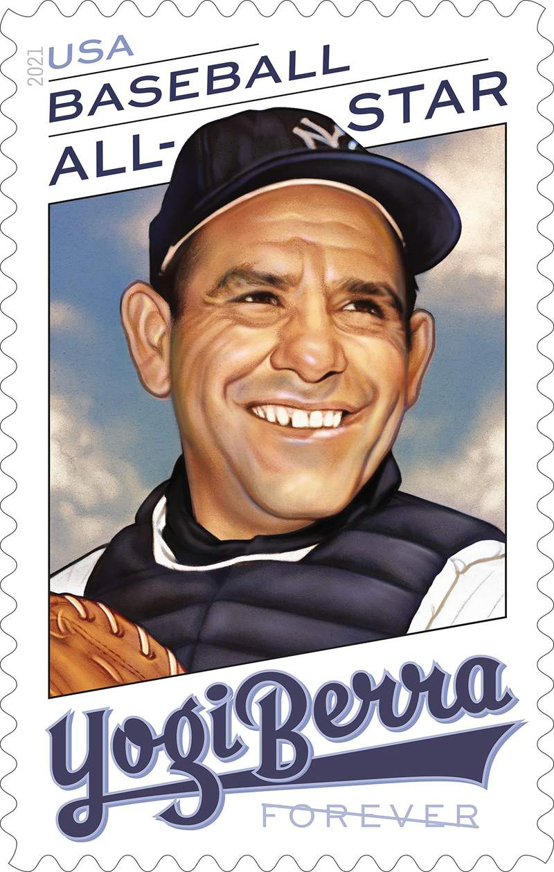 This handout provided by the United States Postal Service shows the Yogi Berra stamp, issued on Thursday, June 24, 2021. We hope this stamp will serve as a reminder of Yogis larger than life personality  both on and off the field, said Ron A. Bloom, chairman, U.S. Postal Service Board of Governors.(United States Postal Service via AP)