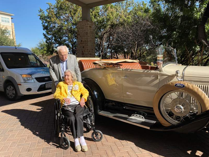 To celebrate their 80th year together, 106-year-old John Henderson picked up 105-year-old Charlotte Henderson in a 1920's Roadster -- much like he did on their first date -- with a beautiful bouquet of flowers.CREDIT: Longhorn Village Senior Living Community