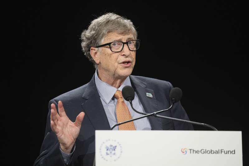 FILE - In this Thursday, Oct. 10, 2019, file photo, Philanthropist and Co-Chairman of the Bill & Melinda Gates Foundation Bill Gates gestures as he speaks to the audience during the Global Fund to Fight AIDS event at the Lyon's congress hall, central France. Despite damaging allegations suggesting Bill Gates pursued women who worked for him, don't expect changes to his roles at the two iconic institutions he co-founded, Microsoft and his namesake philanthropic foundation, raising accountability concerns from critics. (Ludovic Marin/Pool Photo via AP, File)