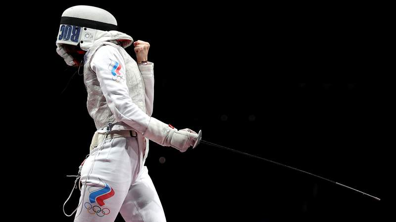 CHIBA, JAPAN - JULY 29: Larisa Korobeynikova of Team ROC celebrates a point during the Women's Foil Team Gold Medal Match on day six of the Tokyo 2020 Olympic Games at Makuhari Messe Hall on July 29, 2021 in Chiba, Japan.