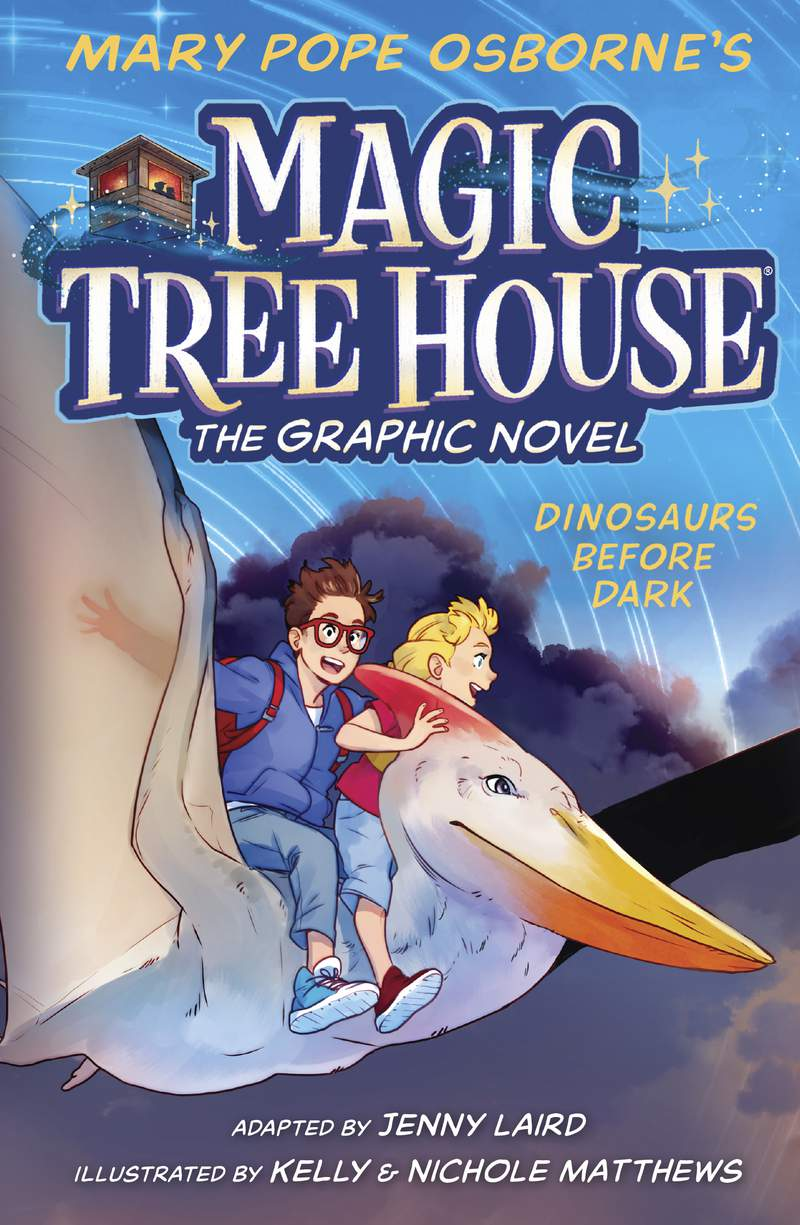 """This cover image released by Random House Childrens Books shows """"Dinosaurs Before Dark"""" the first release of Mary Pope Osborne's  """"Magic Tree House: The Graphic Novel"""" series, scheduled for release on May 4. (Random House Childrens Books via AP)"""